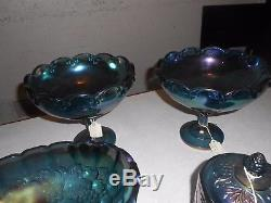 Huge Indiana Carnival Glass Lot Princess Harvest Grape Punch Bowl Fruit Pitcher