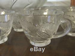 Huge Indiana Glass Punch Bowl Set Includes 24 Cups Pebble Leaf Twiggy Euc