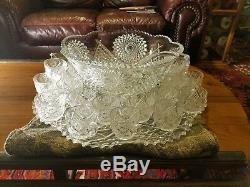 Huge L E Smith Glass Star Pressed Glass 21 piece Punch Bowl Set 22 Platter Tray