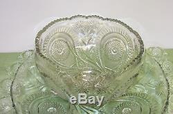 Huge L E Smith Punch Bowl set Slewed Horseshoe Pinwheels & Stars Radiant Daisy