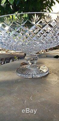 Huge Vintage Crystal Compote Punch Bowl
