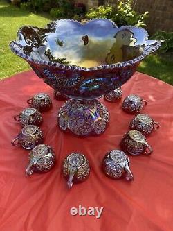 Huge Vtg Westmoreland Rubí Mother Of Pearl Carnival Fruits Punch Bowl Set 14pcs