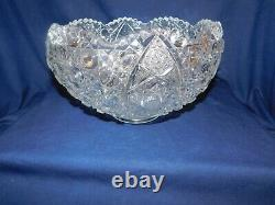 I2 L. E. Smith Daisy & Button Crystal Punch Bowl with Huge Underplate + 24 Cups