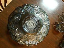 IMPERIAL WHIRLING STAR PEACOCK CARNIVAL GLASS PUNCH BOWL with STAND & 10 CUPS