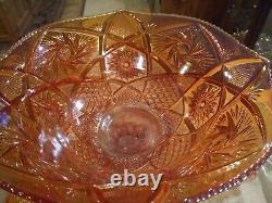 Imperial 20-pc Pinwheel/star Marigold/iridescent Carnival Glass Punch Bowl Set
