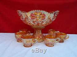 Imperial 474 Marigold Punch Bowl & Cups Carnival Glass Set Four-Seventy-Four