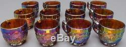 Imperial Amethyst Carnival Glass Grapes Punch Bowl Set Stand 12 Cups Glass Ladle