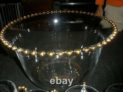 Imperial Candlewick Punch bowl with 5 cups gold trim RARE