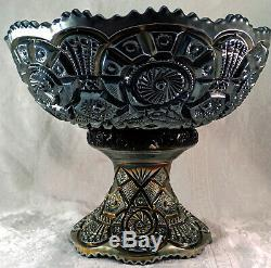 Imperial Carnival Glass Electric Purple Broken Arches Punch Bowl Base & 6 Cups