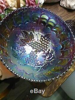 Imperial Carnival Glass IG Amethyst Punch Bowl and Stand