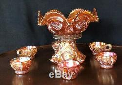 Imperial Carnival Glass Punch Bowl With Stand And 6 Cups/ Mint Condition