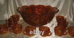 Imperial Carnival Marigold Whirling Star Punch Bowl & 12 Cup Iridescent Line 500