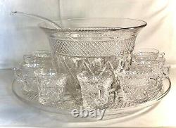 Imperial Crystal Cape Cod 13 Piece Punch Bowl Set