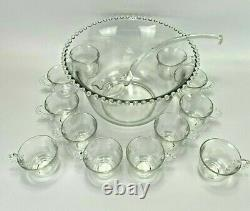 Imperial Glass Candlewick Punch Bowl 12 Cups and Ladle Vintage 14pc