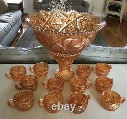 Imperial Glass Carnival Whirling Star Punch Bowl Set 12 Cups