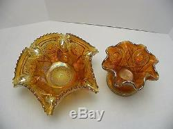 Imperial Glass Marigold Carnival Glass Punch Bowl with Pedestal and 4 Cups 1910