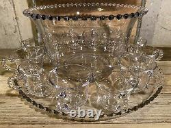 Imperial Glass Ohio Candlewick Clear Punch Bowl Tray & Cups 14 Piece Set