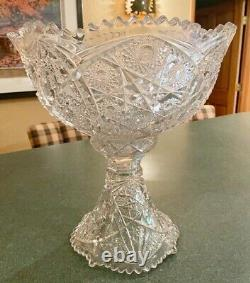 Imperial Glass Punch Bowl Whirling Star Pedestal Stand Vintage Cut Glass