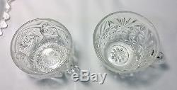 Imperial Glass Whirling Star Clear Crystal Punch Bowl Set 23 Glasses