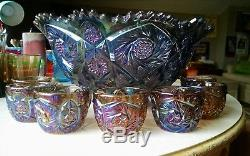 Imperial Glass Whirling Star Pattern Purple Punch Bowl & 7 Cups Carnival Vtg
