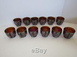 Imperial Grapes Amethyst Amber Carnival Glass Punch Bowl Set