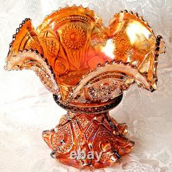 Imperial Marigold Carnival Glass Punch Bowl with Base Hobstars & Arches Pattern