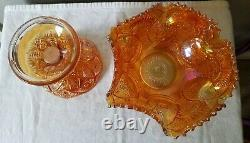 Imperial Marigold Carnival Glass Punch Bowl with Stand Hobstar and Arches