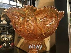 Imperial Marigold Punch Bowl & Cups Carnival Glass Set with 10 Cups