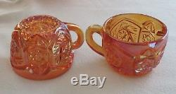 Imperial Marigold Whirling Star Carnival Glass 14 pc. Punch Bowl Cups Set 13