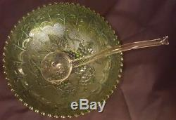 Imperial Signed Green Carnival Glass Grape Punch Bowl Set with 12 Cups & Ladle
