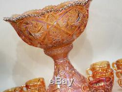 Imperial Whirling Punch Bowl & Stand Set With Cups Merigold