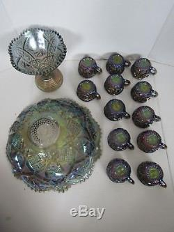 Imperial Whirling Star Smoke Carnival Glass Punch Bowl Set