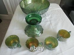Imperial green Carnival Glass Punch Bowl with base excellent condition 4 cup