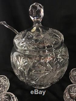 Imperlux hand cut lead crystal Covered Punch Bowl 12 Cups Glass Ladle Slovakia