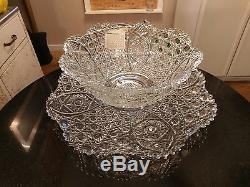 Incredibly Beautiful 20 Cup Punch Bowl with Matching Platter