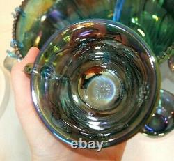 Indiana Blue CARNIVAL GLASS PUNCH BOWL SET, Harvest Grape, 11 Cups, Hooks, Ladle