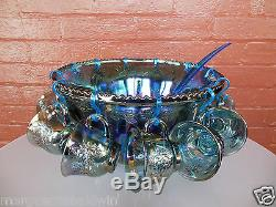 Indiana Glass Blue Carnival Harvest Princess Grape Punch Bowl & Cups 26 pc Set