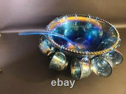 Indiana Glass Blue Carnival Punch Bowl Harvest Princess Grape and Cups 26 pc Set