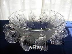 Indiana Glass Clear Pebble Leaf Punch Bowl, 12 Cups, 12 Hooks, Ladle, 26 pc. Set