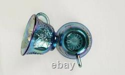 Indiana Glass Co Blue Iridescent Grape Harvest 7446 Princess Punch Bowl Set VTG
