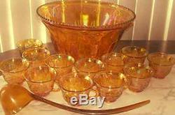Indiana Glass Gold Carnival Harvest Princess Grape Punch Bowl & Cup Set