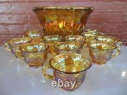 Indiana Glass Gold Carnival Harvest Princess Grape Punch Bowl & Cups 26 pc Set