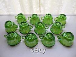 Indiana Glass Green Carnival Harvest Princess Grape Punch Bowl & Cup 26 pc Set