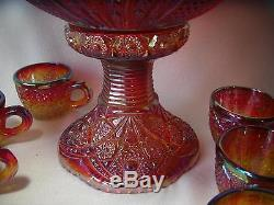 Indiana Glass Red Iridescent Sunset Heirloom Carnival Glass 9 pc Punch Bowl Set
