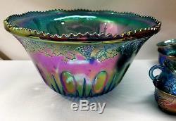 Indiana Harvest Iridescent Blue Carnival Glasspunchbowl12 Cups15 Hooksladle