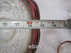 Indiana Lexington Thumbprint Flash Cranberry Punch Bowl 12 Cups Ladle Scalloped