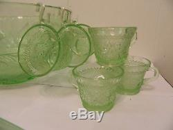 Indiana Tiara Sandwich Glass Chantilly Green Punch Bowl Set with 12 Cups & Ladle
