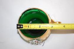 Italian Murano Green Glass Punch Bowl Set (bowl, Ladle & 5-cups) (#m4433)