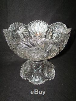 J Hoare American Brilliant Period Punch Bowl On Stand