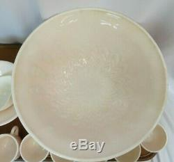 JEANNETTE Vintage 1950's Shell Pink Milk Glass Punch Bowl & Cup Set of 10
